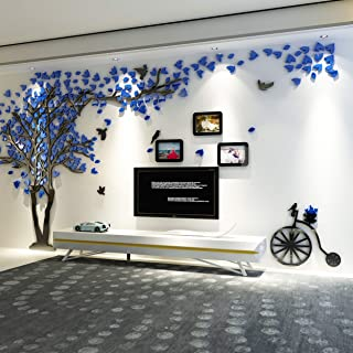 KINBEDY Acrylic 3D Tree Wall Stickers Wall Decal Easy to Install &Apply DIY Decor Sticker Home Art Decor. Blue Leaves with Frames Left, Large Size.