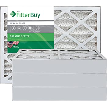FilterBuy 16x25x4 MERV 8 Pleated AC Furnace Air Filter, (Pack of 4 Filters), 16x25x4 – Silver