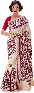 SareesofBengal Women's Gachi Tussar/Kosa Silk Handloom Kantha Stitch Saree Cream Colour