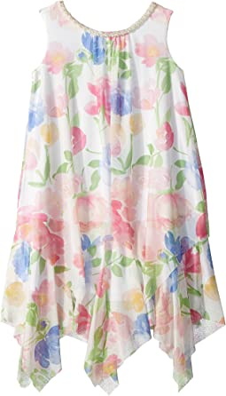 Us Angels Chiffon Floral Print Trapeze Dress (Toddler/Little Kids)