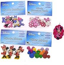 Dress It Up Disney Minnie Mouse Button Embellishment Assortment - 4 Pack - Includes Free Minnie Mouse Pendant