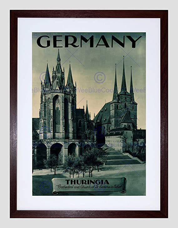 VINTAGE TRAVEL GERMANY DEUTSCHLAND CAR LIGHTS CHURCH CATHEDRAL PRINT B12X11905