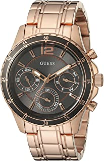 Guess Women's U0639L2 Modern Classic Rose Gold-Tone Watch With Grey Multi-Function Dial, Rose Gold Band, Analog Display