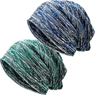 SATINIOR 2 Pack Winter Slouchy Beanie Hat for Women or Men Oversized Warm Sleep Hats (Army Green and Blue)