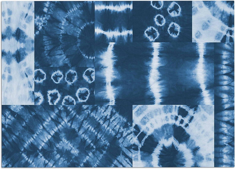 KESS InHouse Jacqueline Milton Shibori Circles  Indigo bluee Tribal Mixed Media Dog Place Mat, 24  x 15