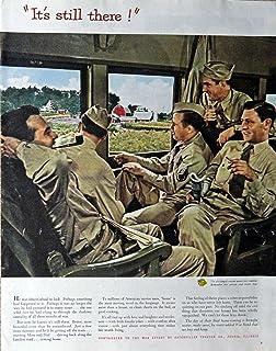 "Caterpillar Tractor, 40`s Print Ad. Color Illustration 10 1/2"" X 13 1/2"" Print Art. (servicemen on train) Oringial Vintage 1945 Collier`s Magazine [Historic Art] ***Store Link [www.amazon.com/shops/ads-thru-time]"