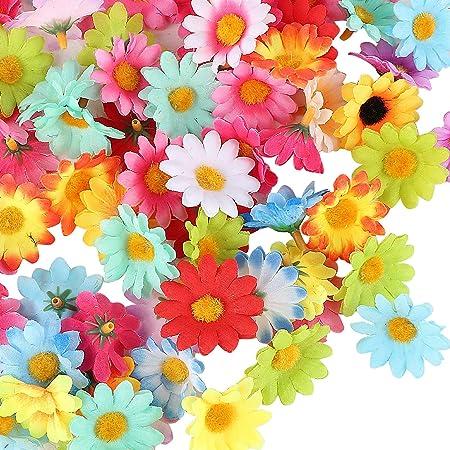 UFLF 100pcsTêtes de Tournesol Mini Fleurs Gerbera Marguerite Artificielle Decorative Plante en Soie pour Maison Jardin Bureau Décoration Fête de Mariage BouquetMulticolore