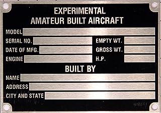 Placa de identificação de aeronave inoxidável.