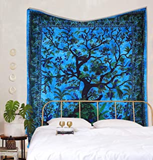 AOUDICHYA Life of Tree Mandala Tapestry Wall Hanging Indian Cotton Tapestries Bedspread Picnic Beach Throw Blanket Wall Ar...