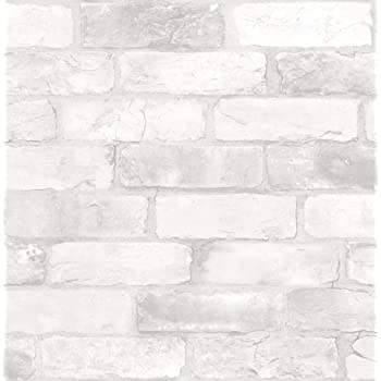 NuWallpaper NU2218 Loft Brick Peel & Stick Wallpaper, White & Off-White