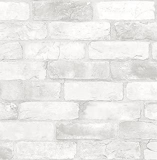 NuWallpaper NU2218 Loft White Brick Peel & Stick Wallpaper, White & Off