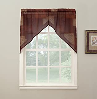 No. 918 Eden Inspirational Kitchen Curtain Swag Valance Pair, 56