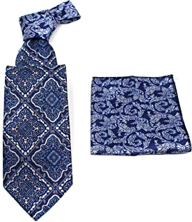 C. ALLEN 佩斯利领带手帕编织经典男式领带和口袋方形套装