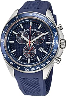 Nautica Men's Stainless Steel Quartz Silicone Strap, Blue, 22 Casual Watch (Model: NAPOBS108)