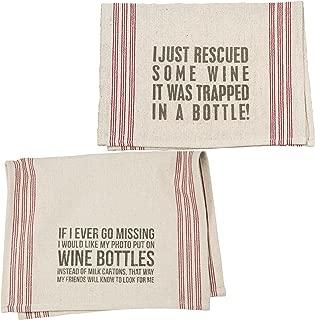 Wine Lovers Dish Towel Set | Bundle Includes 2 Towels