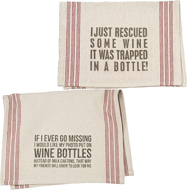 Wine Lovers Dish Towel Set Bundle Includes 2 Towels