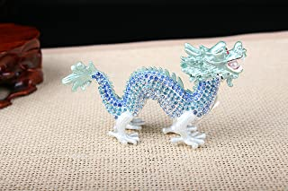znewlook Chinese Crystal Dragon Collectible Figurine Statue with a Pearl in Mouth for Office and Home Decor (Blue)