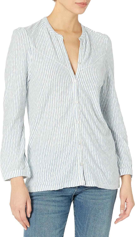 Lucky Brand Women's 3/4 Sleeve Button Up Striped Seersucker Top