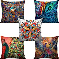 BANTAL Mor Printed Jute Cushion Cover (16x16-inch, Multicolour) - Set of 5
