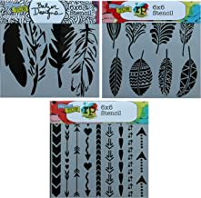 3 Crafters Workshop Stencils | Feather, Arrow, Hearts Designs | Mixed Media Stencils Set Includes 6 Inch x 6 Inch Templates for Painting, Arts, Card Making, Journaling, Scrapbooking