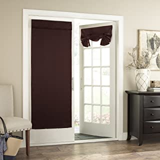 Eclipse French Door Curtain -Tricia Tie Up Light Filtering Single Panel Drapes for Patio, for Living Room and Bedroom, 26