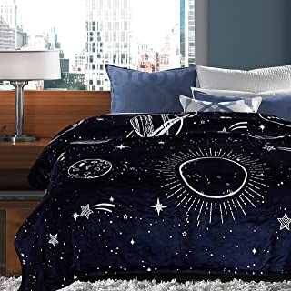 Chanasya Super Soft Solar System Galaxy Star Space Print Gift Throw Blanket| Featuring Nine Planets Orbiting The Sun Including Pluto for Bed Couch Chair Birthday for Kids- Navy (Twin)