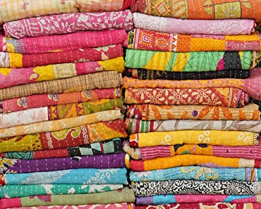Rajasthali Whole Sale Tribal Kantha Quilts Mix Lot Vintage Cotton Bed Cover Old Assorted Patches Rally (5)