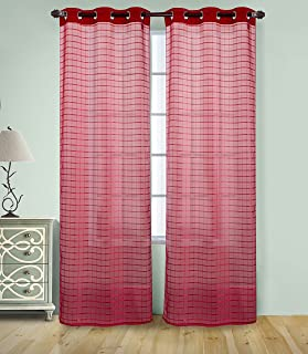 RT Designers Collection PNW12603Wanda Box in Voile 76x 84. Grommet Curtain Panel Pair, (Set da 2), Red, 76 x 84