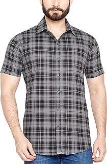 True United Men's Checkered Black Half Sleeve Shirt