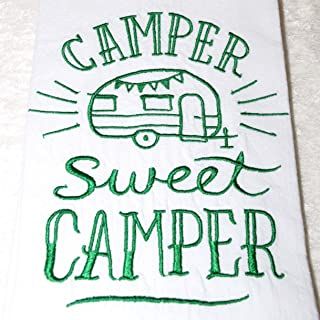 Green Embroidered Camper Towel - Flour Sack Towel - RV Camping Decor - Travel Trailer
