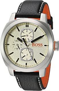 Men's Cape Town Stainless Steel Quartz Watch with Leather Strap, Black, 22 (Model: 1550026)