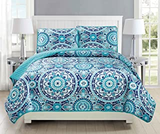 Mk Collection Twin/ Twin Extra Long 2pc Bedspread coverlet quilted Floral Turquoise Teel Blue Grey Over Size New #185 70
