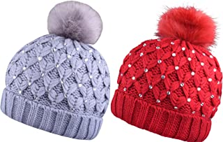 Winter Pom Pom Beanie Beanies for Women Pompom Knit Hat with Bling Rhinestone