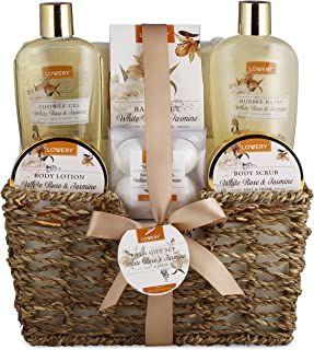 Home Spa Gift Basket - White Rose & Jasmine - Luxury 11 Piece Bath & Body Set for Women, Mother Day Gift with Shower Gel, Bubble Bath, Body Lotion, Scrub, Bath Salt, 4 Bath Bombs, Loofah & Basket