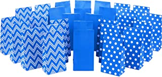 Hallmark Blue Party Favor and Wrapped Treat Bags, Assorted Designs (30 Ct., 10 Each of Chevron, White Dots, Solid) for Birthdays, Baby Showers, School Lunches, Hanukkah, Holidays and More