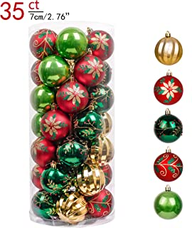Valery Madelyn 35ct 70mm Country Road Red Green and Gold Shatterproof Christmas Ball Ornaments Decoration,Themed with Tree Skirt(Not Included)