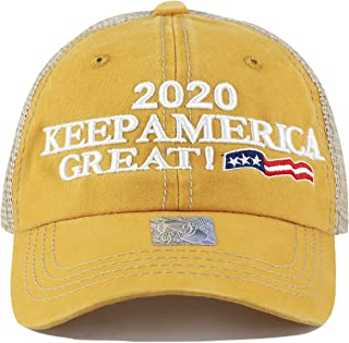 f6d1a696f THE HAT DEPOT Trump 2020 President Keep America Great Flag Cotton 3D Cap