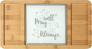 Precious Moments Bountiful Blessings Eat Well Pray Often Love Always Bamboo Cheeseboard/Serving Tray with Glass Insert 15.5 x 8.5 inches 182426