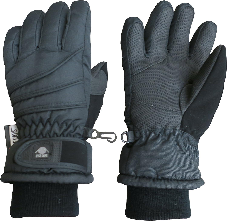 NIce Caps Kids Bulky Thinsulate Waterproof Winter Snow Ski Glove with Ridges Black 1, 4-5 Years