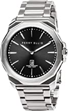 Perry Ellis Men Watch Decagon Quartz Luminous Watch with Date Stainless Steel Band Waterproof