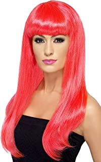 Smiffy's Women's Long and Straight Neon Pink Wig with Bangs, One Size, Babelicious Wig, 5020570424216