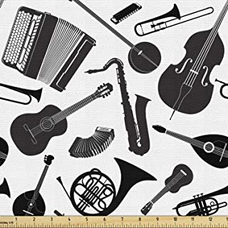 Lunarable Musical Fabric by The Yard, Western and Eastern Music Acoustic Guitar Tambourin Horn String Bass Banjo, Decorati...