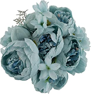 Ezflowery 1 Pack Artificial Peony Silk Flowers Arrangement Bouquet for Wedding Centerpiece Room Party Home Decoration, Elegant Vintage, Perfect for Spring, Summer and Occasions (1, Grey Blue)
