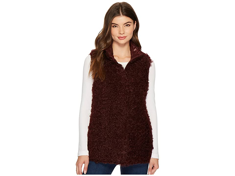 Via Spiga Reversible Curly Faux-Fur Vest (Bordeaux) Women