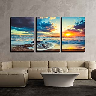wall26 - 3 Piece Canvas Wall Art - Beautiful Cloudscape Over The Sea, Sunrise Shot - Modern Home Decor Stretched and Framed Ready to Hang - 16