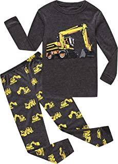 Image of Cotton Grey Excavator Construction Pajamas for Toddler Boys and Infants