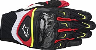Alpinestars SMX-2 Air Carbon Men's Street Motorcycle Gloves - Black/White/Yellow/Red / 2X-Large