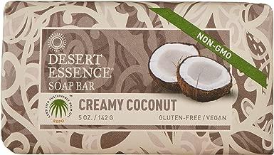 Desert Essence Creamy Coconut Soap Bar - 5 Ounce - Cleanse & Soothes Skin - Tea Tree Oil - Aloe Vera - Jojoba Oil - Refreshing Rich Scent - Acne - Invigorating Moisturizer