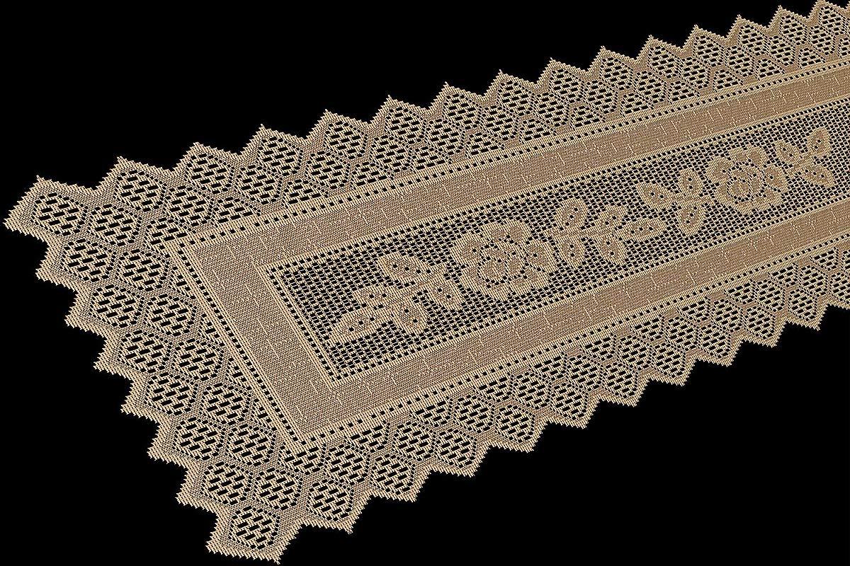 Table Runner Grega Design Brazilian Lace 19x62 Inches Ocher Light Brown Color 100 Percent Polyester