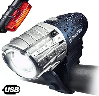 Eagle Eye USB Rechargeable Bike Light Set by Apace - Powerful 300 Lumens LED Bicycle Headlight & Tail Light - Super Bright Front Light & Rear Light for Cycling Safety